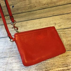Coach Bags - COACH Persimmon Pebbled Leather Wristlet Purse